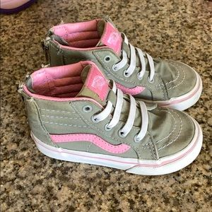 Toddler girls Vans. High top gray and pink